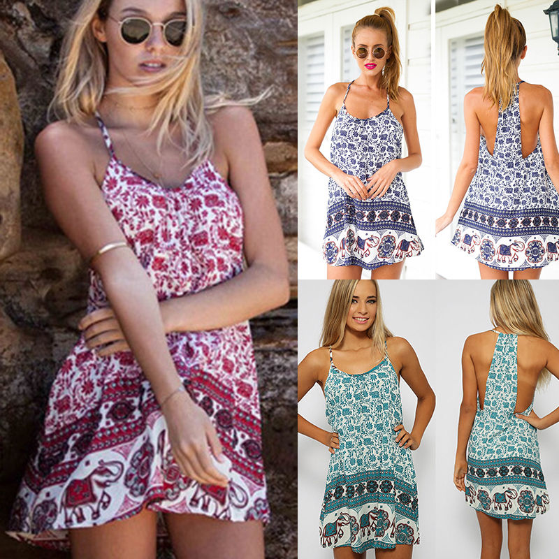 5d8aafcf4e Aliexpress.com   Buy New Sexy Women Sun Dress Vestidos Femininos Vintage Floral  Elephant Print Spaghetti Strap Sleeveless Swing Beach Mini Dress from ...