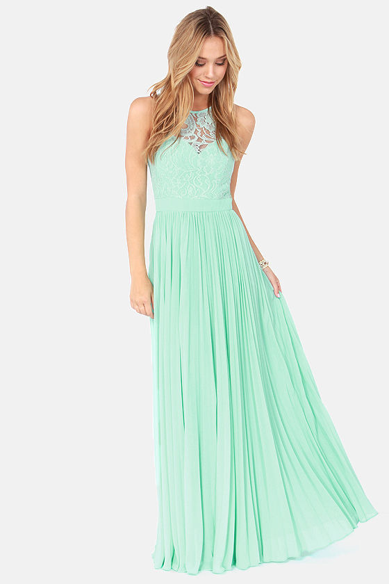 2014 Spring Mint Green Lace Maxi Dress Tank Straps Chiffon Long