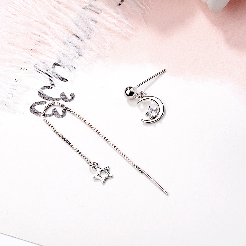 Star Asymmetry Short and Long Chain Silver Drop Earring for Women Small Round Crystal Dangle Earrings Wedding Statement Ear in Drop Earrings from Jewelry Accessories