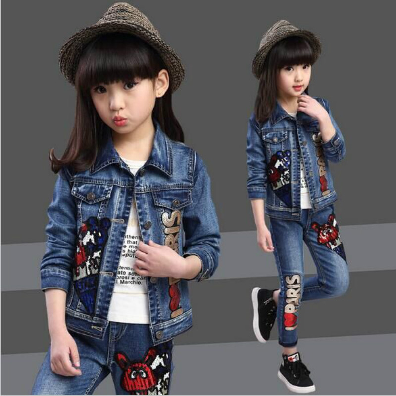girl clothes new spring autumn children suits  girls denim 2 piece set suit for  baby girl outfit. 2016 autumn and spring new girl fashion cowboy short jacket bust skirt two suits for2 7 years old children clothes set