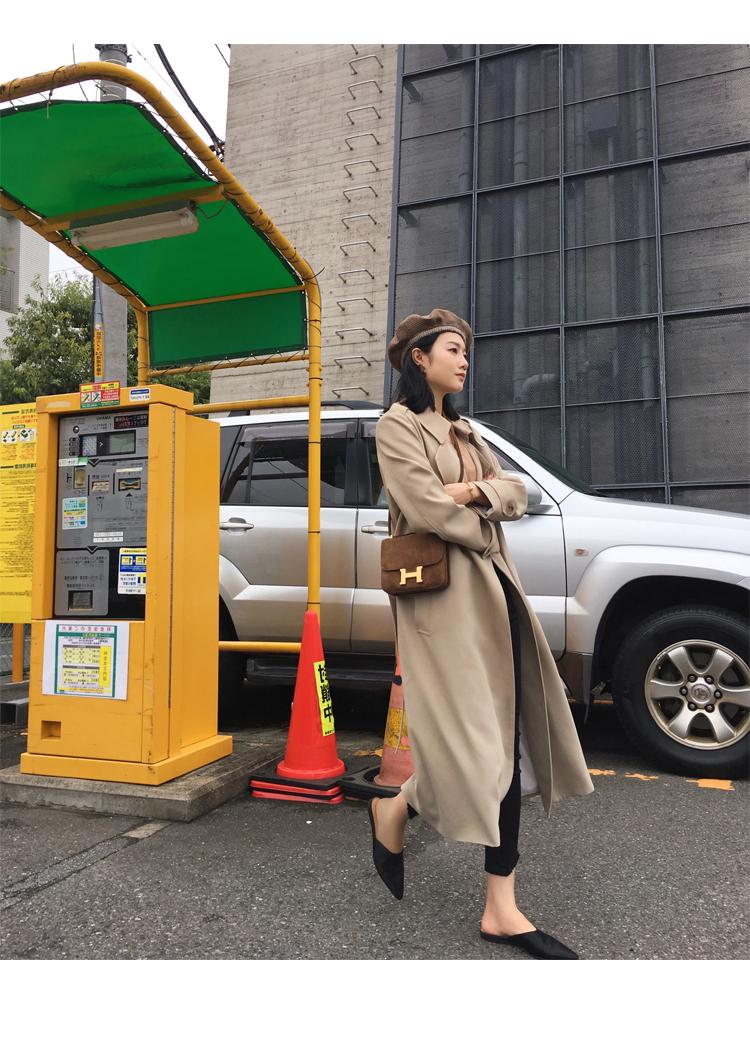Spring Autumn Maxi Long Women's Loose Trench Coat With Belt Khaki & Black Plus Size Korean Style Windbreaker Outwear 23