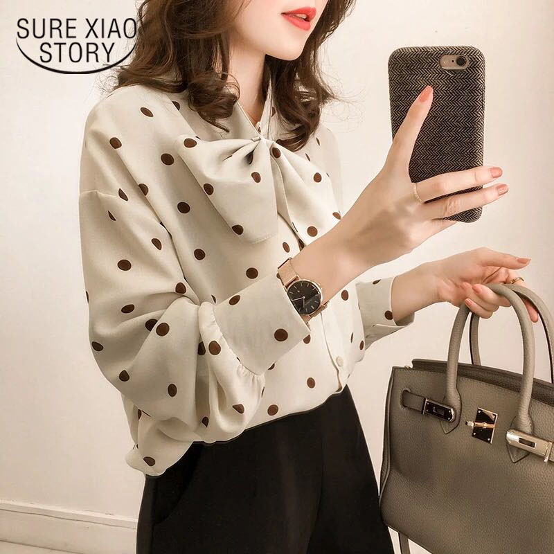 Fashion Long Sleeve Vintage Women   Blouses     Shirt   2018 Chiffon   Blouse   Bow OL   Blouse   Women Plus Size clothes Feminine 1206 40