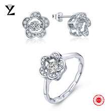 Flower 925 Sterling Silver Dancing CZ Diamond Earring Stud & Engagement Rings Cubic Zirconia Jewelry Set for Women Wedding