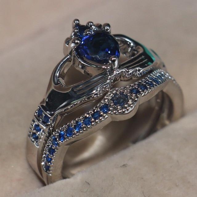 Blue Birthstone claddagh ring 1