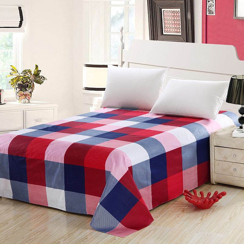 1PC 100% Cotton Grid Flat Sheet Without Pillowcase