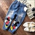 Chica de Jeans Niñas Pantalones de Niño Pantalones de mezclilla pantalones Largos pantalones de Los Niños de Mickey Minnie pantalones Largos con agujero Retro de la vendimia estilo