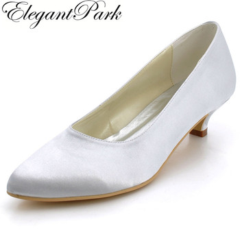 Women Shoes Low Heel EP2089 Pointed Toe Ivory Wedding Shoes  Woman Pumps Satin Classic Comfortable Bridal Dress Pumps