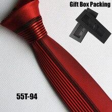 Lingyao Мужской дизайнерский облегающий галстук для жениха, Свадебный полуоднотонный красный с черными вертикальными полосками в подарочной коробке