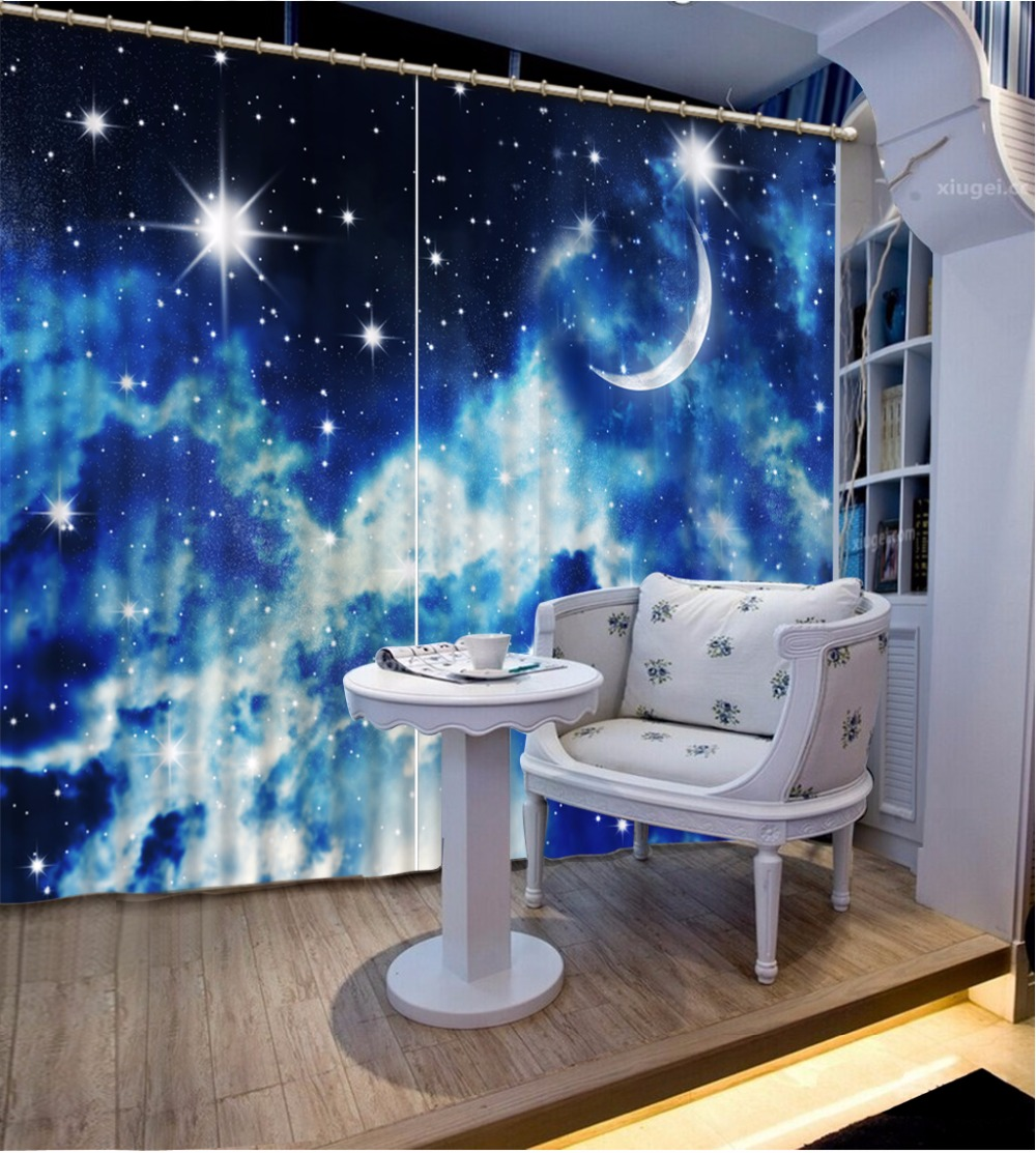 Home Bedroom Decoration 3D Curtain Night Moon Curtains For Bedroom Blackout Shade Window Curtains Fashion Customized