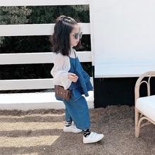 Girl Baby Spring Korean Edition Hanging Jeans Two-piece KidsBroad-legged Pants Suit