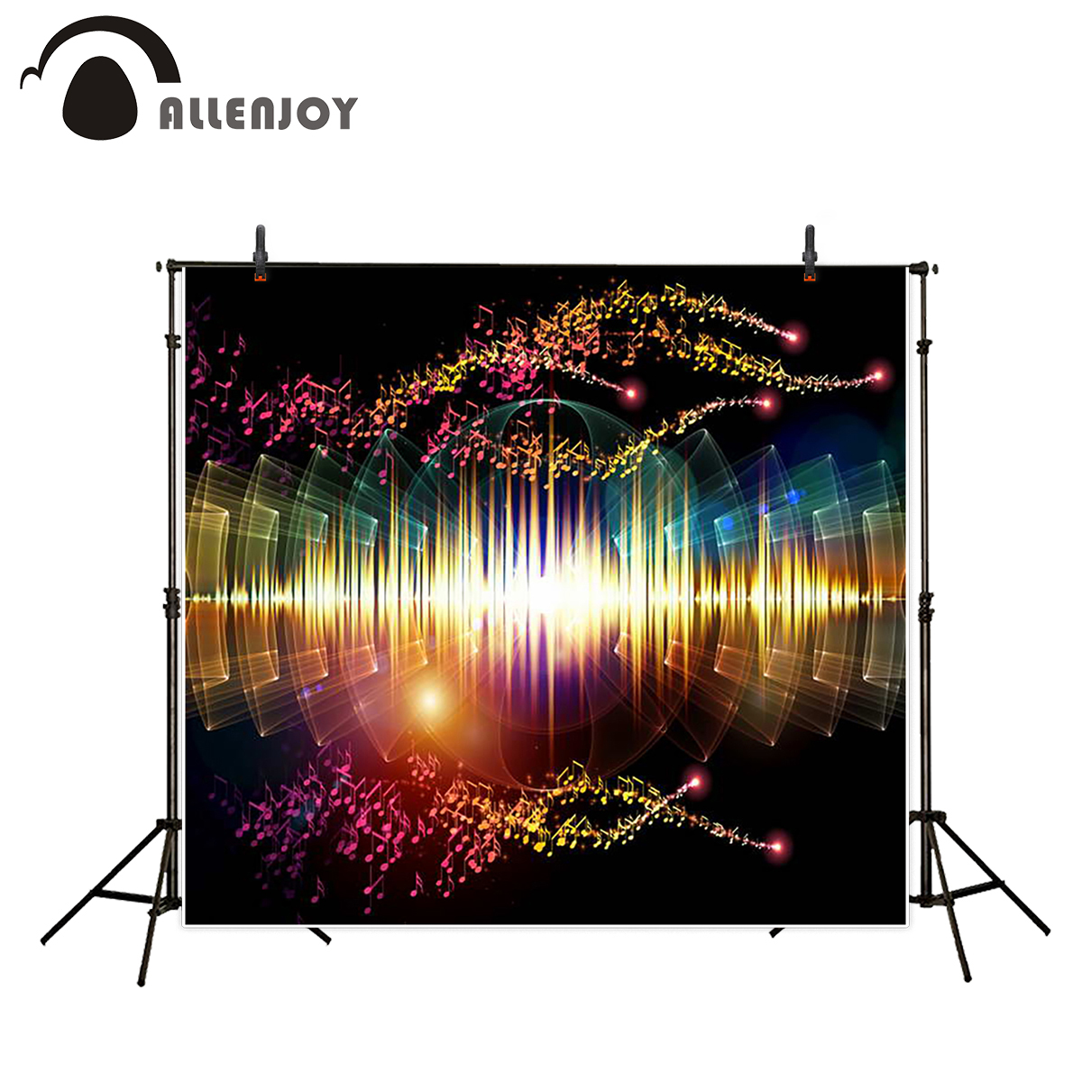 Allenjoy background photography colorful modern music shiny backdrops high quality photocall customize photobooth christmas background for photography wood flower green yellow rose colorful new born xmas customize photocall