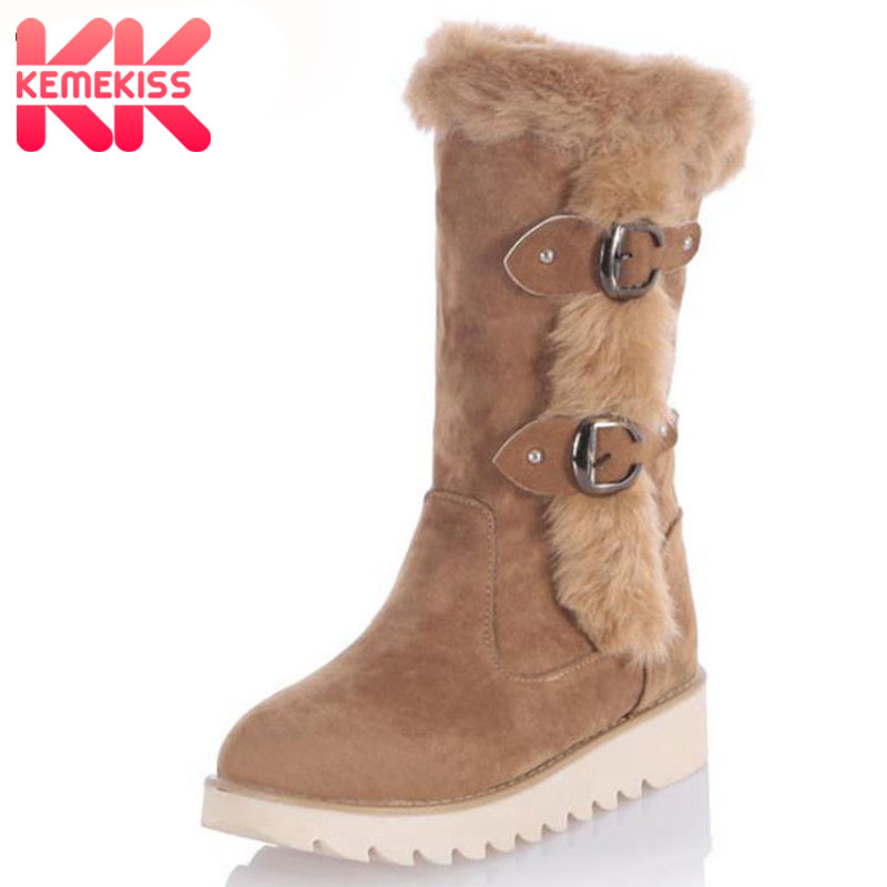 KemeKiss Size 31-43 Gladiator Snow Boots Women Flats Half Short Boot Ladies Warm Winter Mid Calf Boots Footwear Shoes Woman стоимость