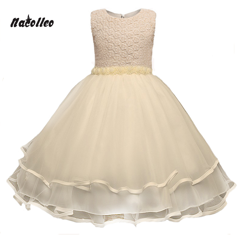 2017 New Champagne Color Girl Dress Wedding Princess Tutu Kids Party Prom...