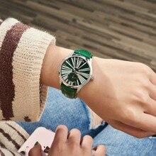 Reef Tiger reloj de moda para mujer, automático, de lujo, correa de cuero verde, diamante, RGA1561, 2020