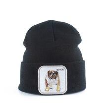 Прямая поставка; Wo Для мужчин s шапка осенние и зимние корейский стиль теплая вязаная шапка для Шапки для Для мужчин бульдог вышивка в стиле хип-хоп шапка, вязаная шапка-носок головные уборы Skullies Beanies
