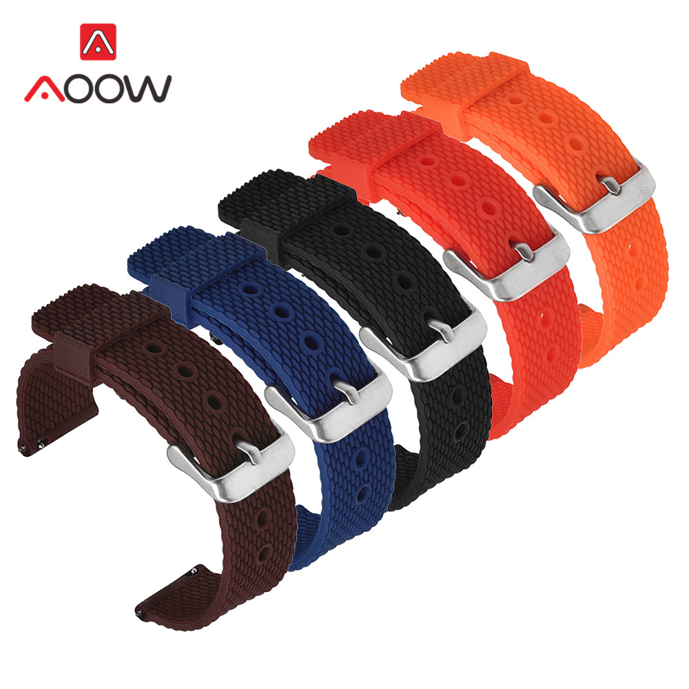 Soft Silicone Strap 18mm 20mm 22mm 24mm For Samsung Galaxy Watch Active 42mm 46mm Gear S3 Amazfit Sport Waterproof Bracelet Band
