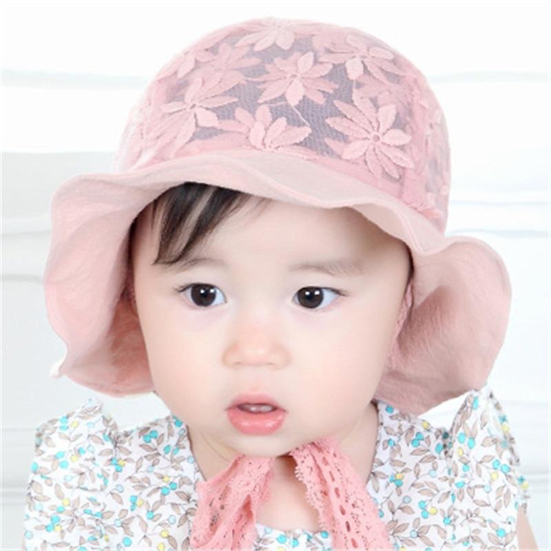 ec2d5d6d ideacherry Cute Princess Baby Hat Summer Solid Color Lace Hollow With  Flower Cap for 6-