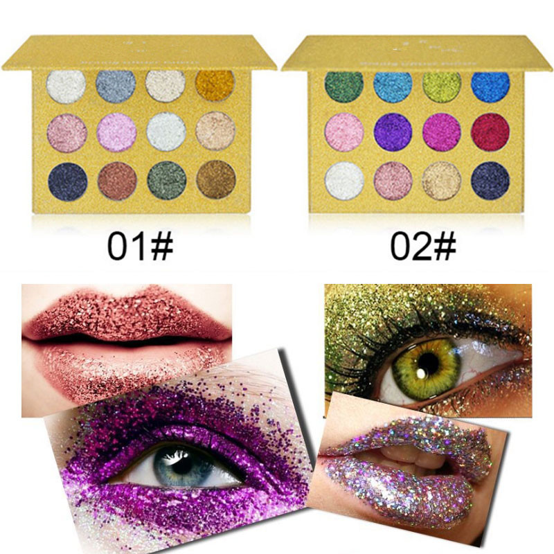 12 Color Diamond Glitter Eyeshadow Palette Gold Shine Eyeshadow Glitter Shiny Eyeshadow Blue Eye Shadows Cosmetics Tool High Quality And Inexpensive Eye Shadow Beauty Essentials