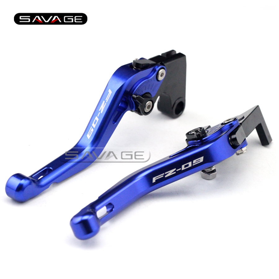 ФОТО For YAMAHA FZ-09 MT-09 MT09 2014 2015 2016 Blue Motorcycle CNC Aluminum Short Adjustable Brake Clutch Levers logo FZ-09