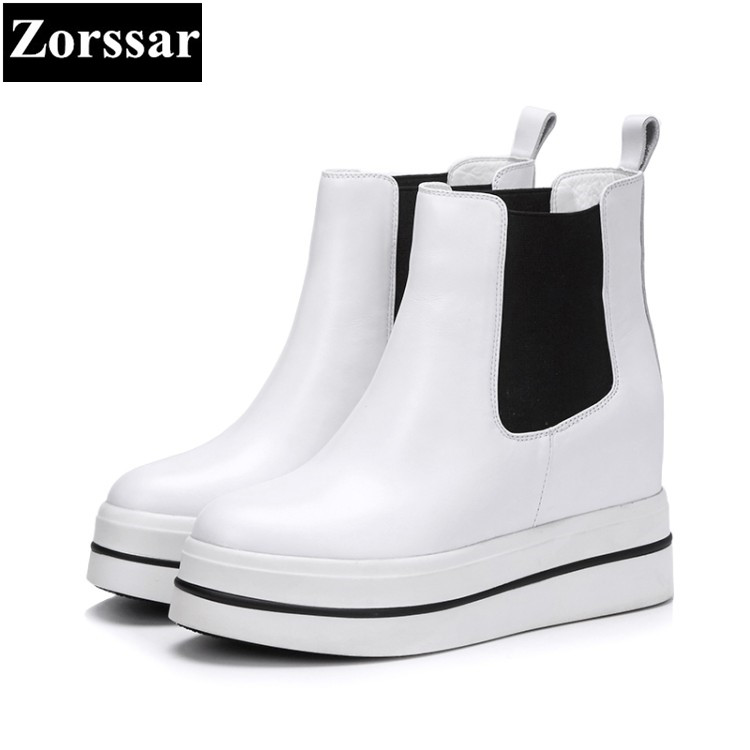 {Zorssar} 2018 new women boots fashion genuine leather High heels platform ankle boots Round Toe slip on wedges short boots womens shoes round toe platform high heels pumps women ankle boots 2017 new fashion metal decoration genuine leather woman heels
