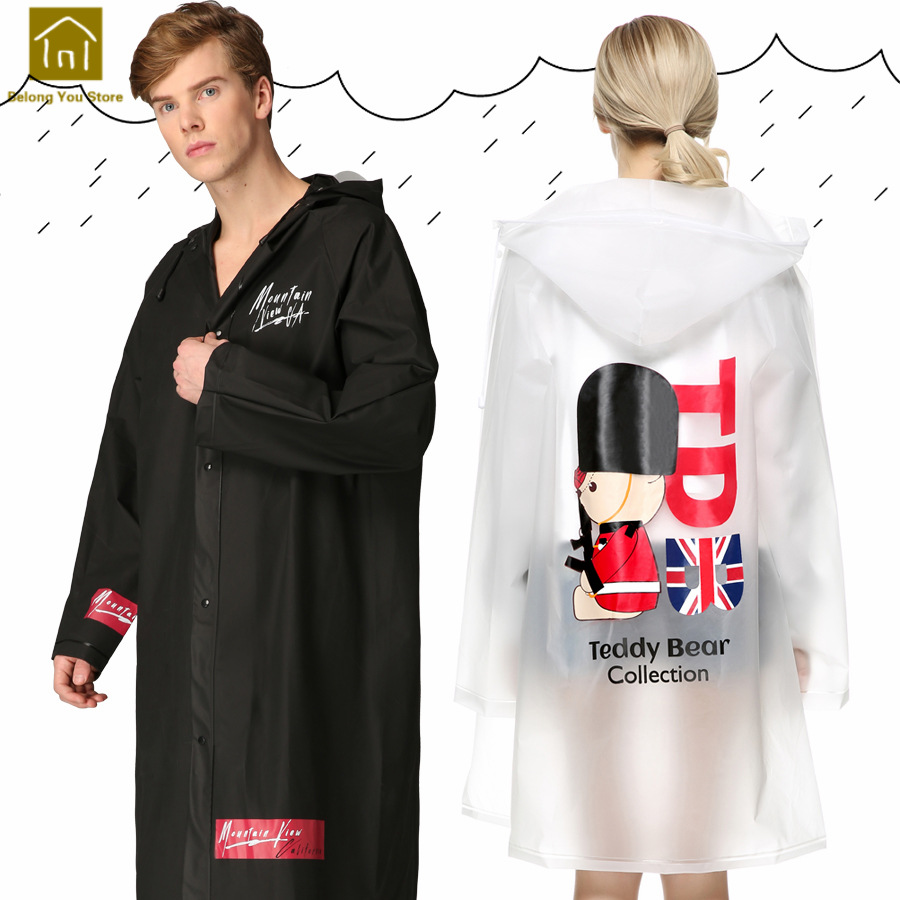 Black Long Raincoat Hiking Rainwear Outdoor Long Men Rain Coat Women Jacket Chaqueta Mujer Rain Poncho Impermeable Cloaks WKR128