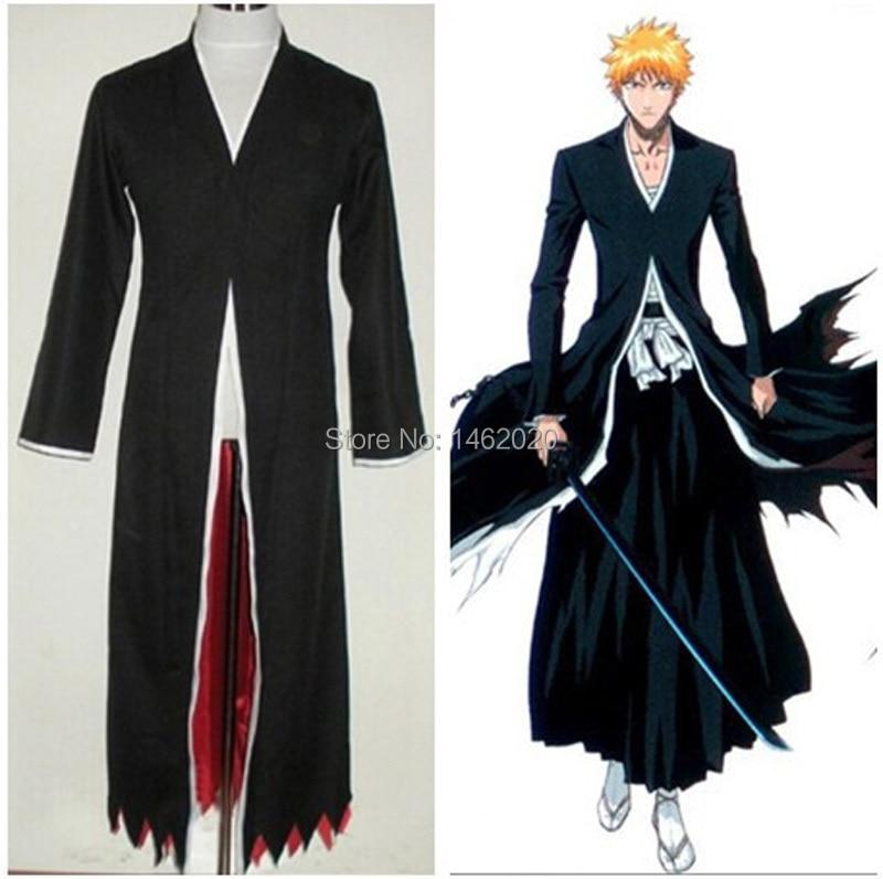 2 Colors Amime Bleach Costume-Bleach Kurosaki Ichigo Bankai Cosplay Unisex Cloak Long Bl ...