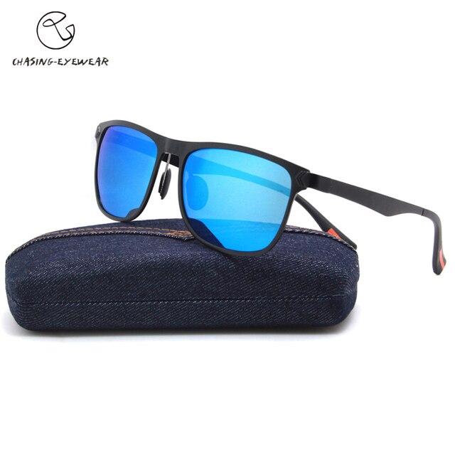 e735a907a00 Aluminum Magnesium Sunglasses Polarized Lens Men Sun Glasses Male unisex Fashion  Sunglasses LM2349blue lenses Chasing Brand