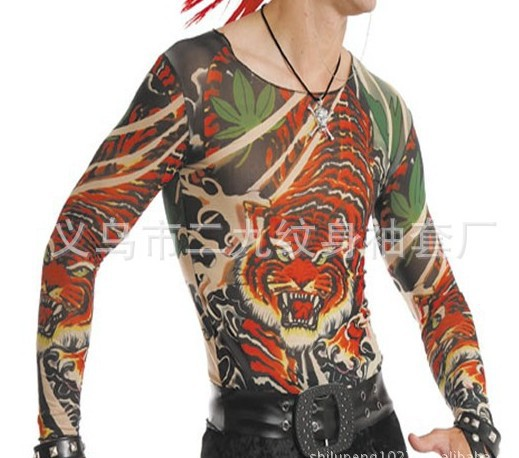 e69e0cb51adc6 full body tiger tattoo clothing tattoo T-shirt both for man and women fake  tattoo easy take on easy take off