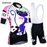BXIO Women Cycling Jersey Set Funny Ropa De Ciclismo Cat Cycling Clothing 2019 Pro Team Short Sleeve Bicycle Clothes BX 0209P044