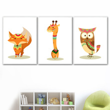 Cartoon Giraffe Owl Fox Wall Art Canvas Painting Nordic Posters And Prints Nursery Decoration Pictures Baby Girl Boy Room Decor
