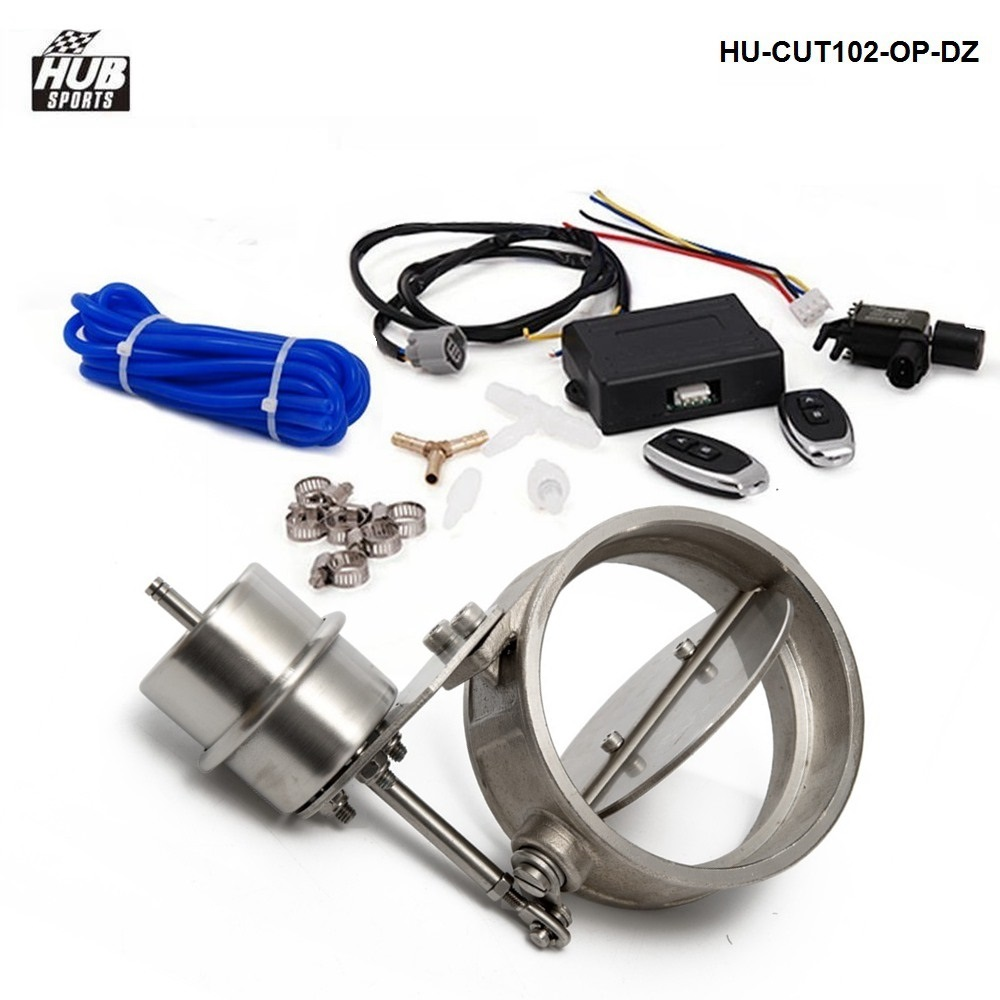 Exhaust Control Valve Set W/Vacuum Actuator CUTOUT 102mm Pipe OPEN STYLE W/Wireless Remote Controller HU-CUT102-OP-DZ exhaust control valve set cutout 3 76mm pipe close style with vacuum actuator with wireless remote controller set tk cut76 cl dz