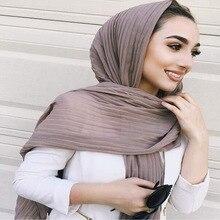Crumple bolha chiffon sólido crinkled xales plissado bandana hijab muçulmano envolve cachecóis/cachecol tamanho grande 90*180cm