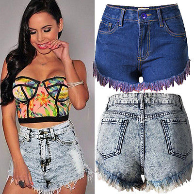 Fashion Women High Waist Tassel Hole Shorts Jeans Denim Slim Casual Short