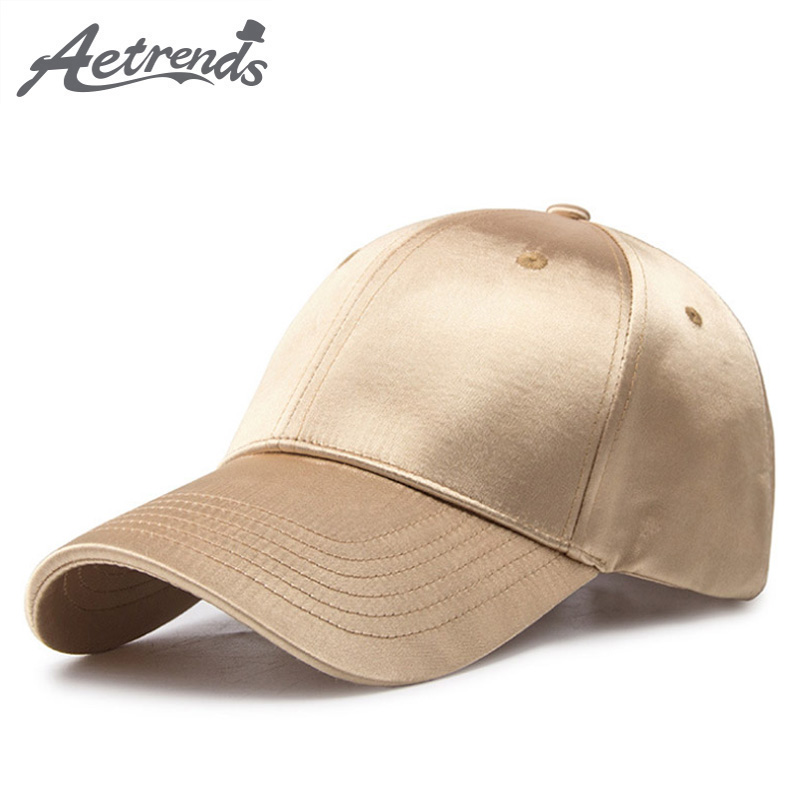 [AETRENDS] Gold Satin Surface   Baseball     Cap   Women Men's   Cap   Outdoor Sport   Caps   Male   Baseball     Caps   Branded Youth Snapback Z-6341