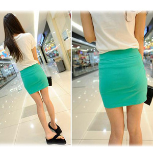Image 4 - Fashion Women Ladies Sexy Summer Package Hip Pencil Skirt Seamless Elastic Pleated High Waist Slim Mini Skirts For Office Party