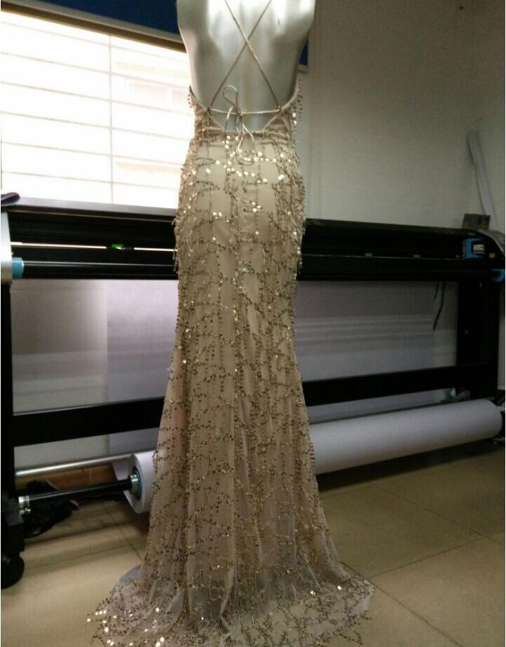 vestidos de festa gold shiny sequin long evening maxi  5