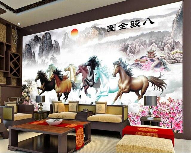 Beibehang Individuelle Fototapeten 3D Tiere Acht Pferd Landschaft ...