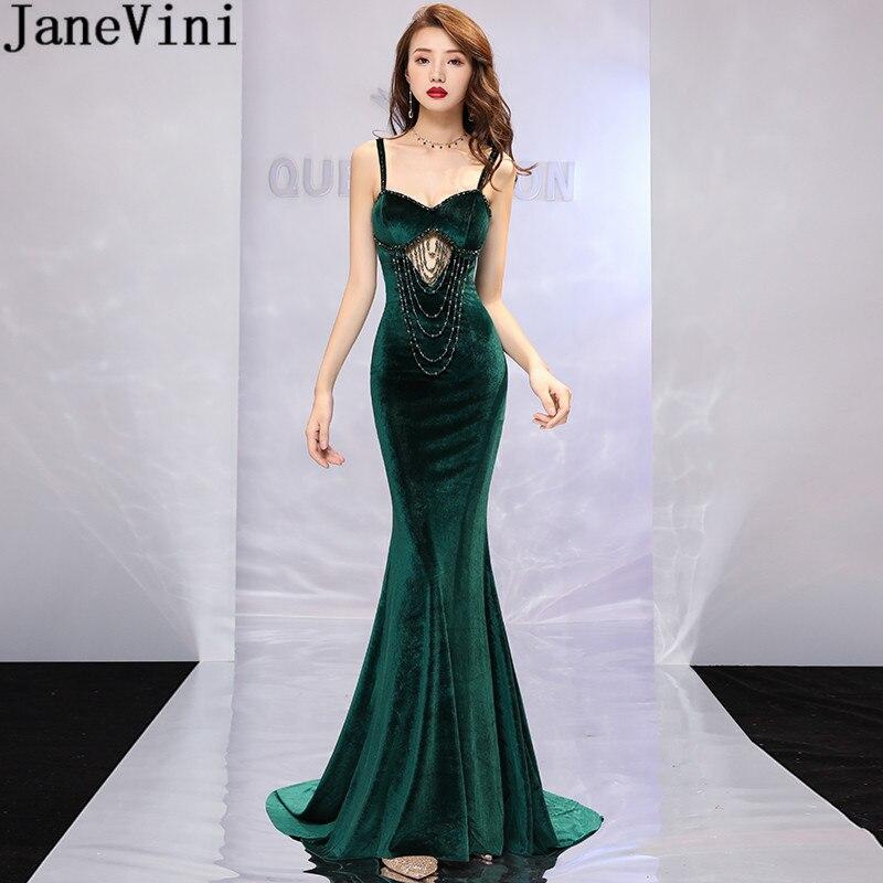 JaneVini Ladies Mermaid Bridesmaid Dress Long Beaded Velvet Sweep Train Dark Green Prom Dresses Elegant Dress For Wedding Party