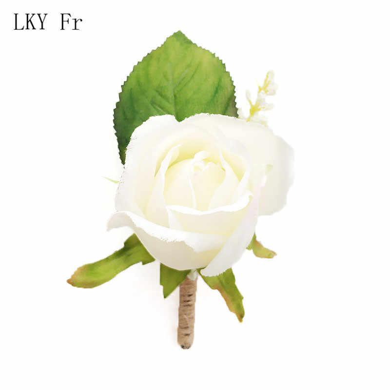 Lky FR Boutonniere Korsase Groom Boutonniere Lubang Kancing Pin Manset Gelang Bridesmaid Pernikahan Sutra Pergelangan Tangan Korsase Gelang Bunga