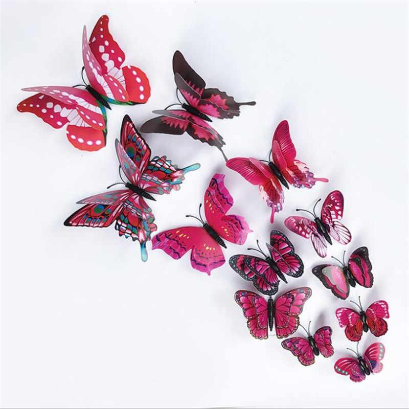 12 шт. 3D двойное с бабочкой стикер на стену для домашнего декора DIY бабочки магнит на холодильник наклейки для украшения комнаты