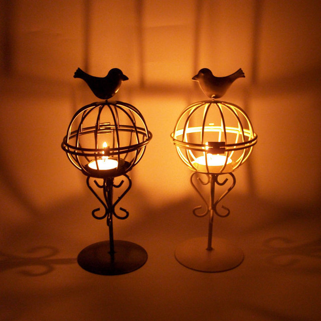 Bird Stand Candle Lamp Holder Metal Birdcage Candlestick Night