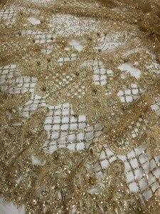 Image 3 - למעלה מכירת מודבק גליטר sparkle JIANXI.C 62519 בד אפריקאי הודו mesh טול עם חרוזים לשמלת כלה/ערב