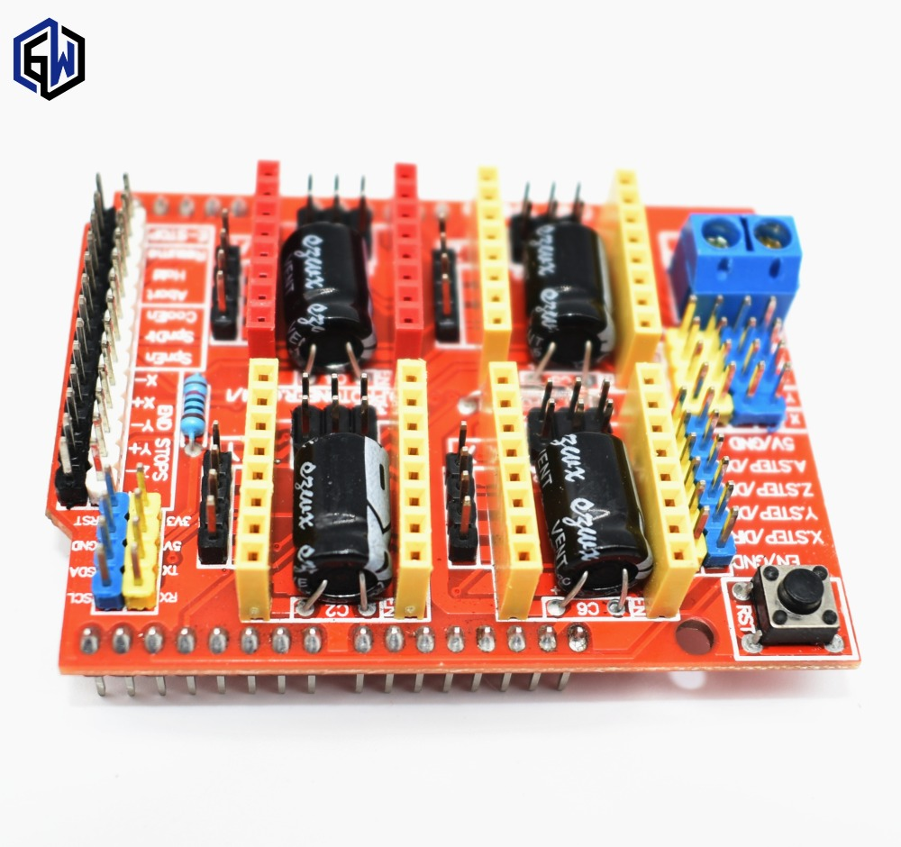 New Cnc Shield V3 Engraving Machine 3d Printer A4988 Driver Mega 2560 R3 Ramps 1 4 Impresora 5 Drivers Kit Para Arduino Expansion Board
