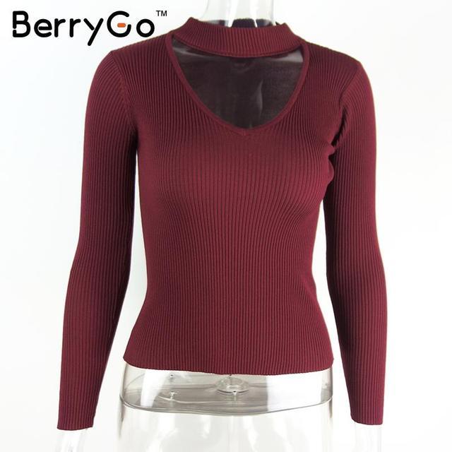 BerryGo Autumn winter black halter knitted sweater White sexy pullover women tops Slim v neck long sleeve chic jumper pull femme