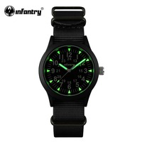 INFANTRY Mens Watches Tactical Army Luminous Watches Ultra Thin G10 Nylon Strap Hattori Japanese Quartz Watches