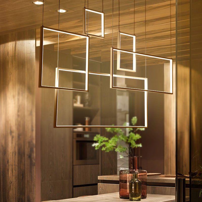 Modern Square Box LED Pendant Light For Dining Room Bedroom Study Bar Aluminum Hanging Lamp Fixture zx modern aluminum led chip pendant lamp engineering hanging wire strip light fixture for office conference room study lamp