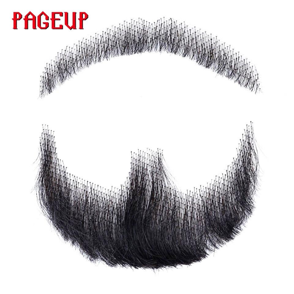 Pageup nep laço barba falsa para homem bigode feito à mão pelo cabelo real barba falsa cosplay laço sintético invisível barbas