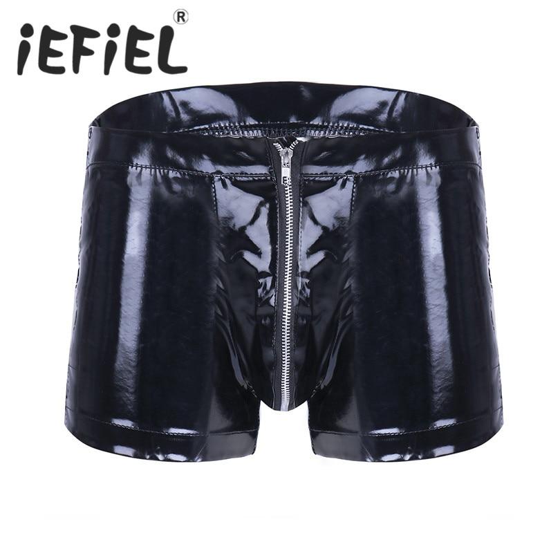 Iefiel Lingerie Underwear Jockstraps Shorts Sexy Mens Fashion Patent Summer Male Zipper