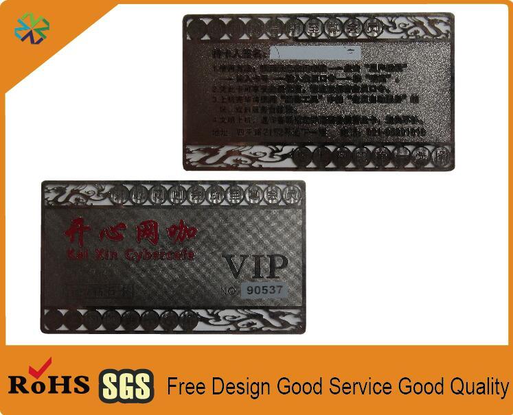 Argent Acier Inoxydable En Metal Cartes De Visite VIP Deca Fabricant Avec CMJN Impression Grave Mots Cut Out Logo Dans