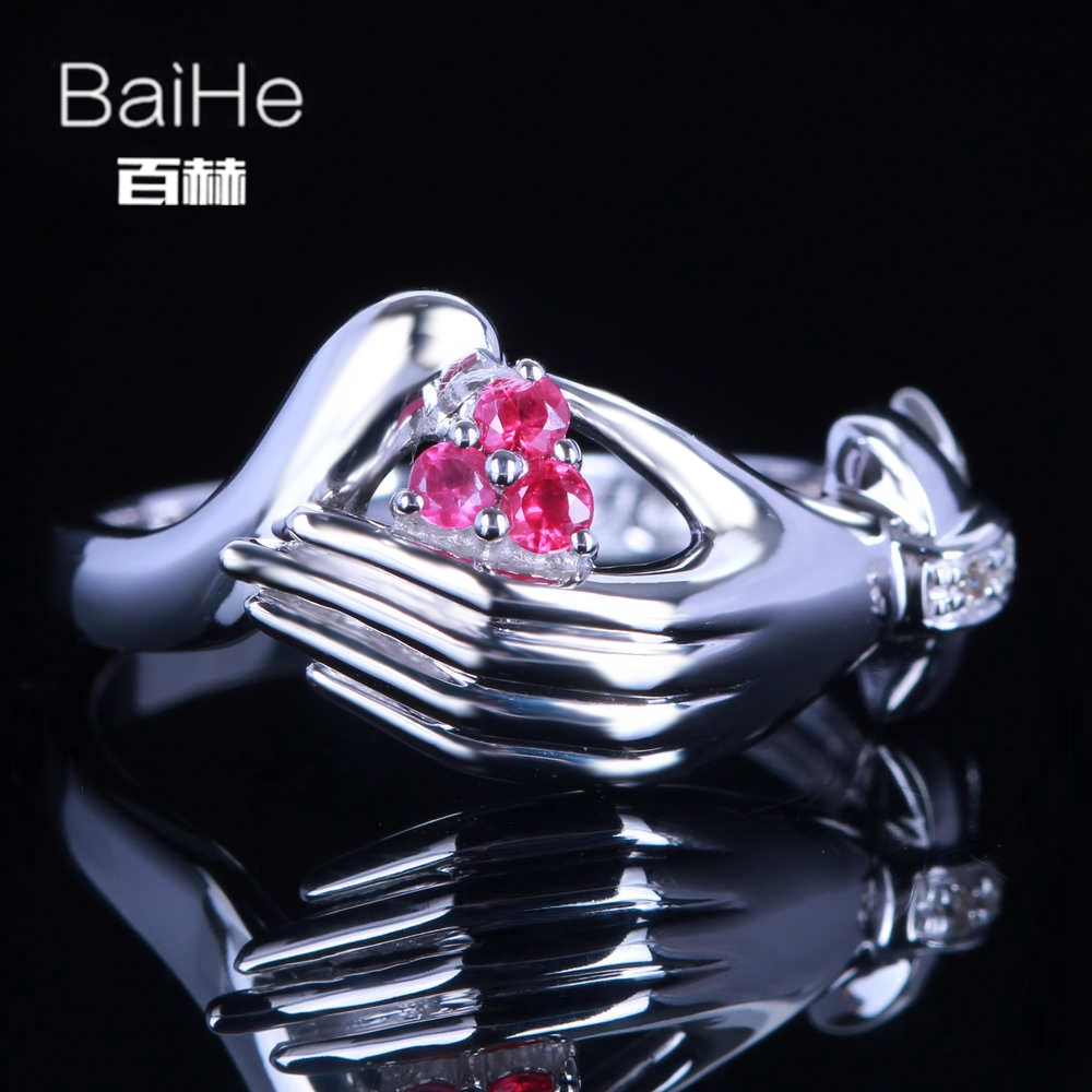 BAIHE Sterling Silver 925 0.15CT Certified H/SI 100% Genuine Natural Diamonds & Rubies Women Classic Fine Jewelry Ring BAIHE Sterling Silver 925 0.15CT Certified H/SI 100% Genuine Natural Diamonds & Rubies Women Classic Fine Jewelry Ring